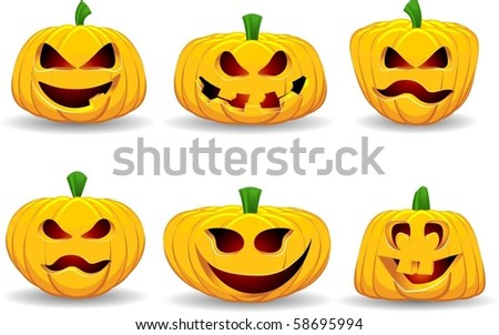 Spooky pumpkins - stock vector