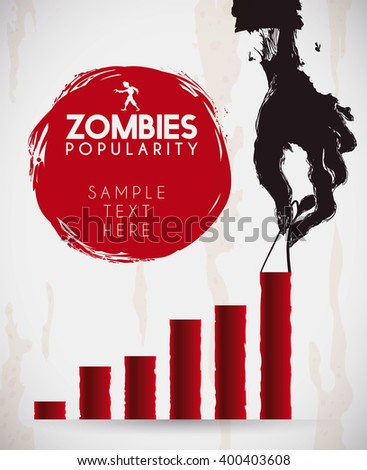 Spooky rotten zombie hand holding on a statistics bar for trends infographic about undead popularity. - stock vector