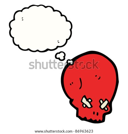 spooky skull cartoon with thought bubble - stock vector