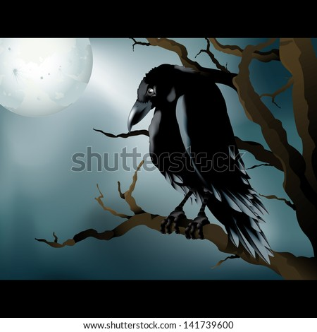 Spooky vector drawings of a Raven/Raven/Easy to edit vector file easy to edit layers, meshes and gradients used, grouped objects - stock vector
