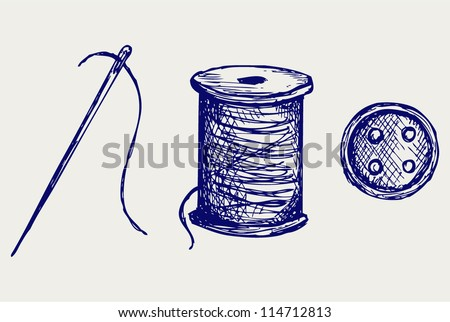 Spool with threads and sewing button. Doodle style