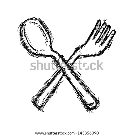 spoon and fork doodle