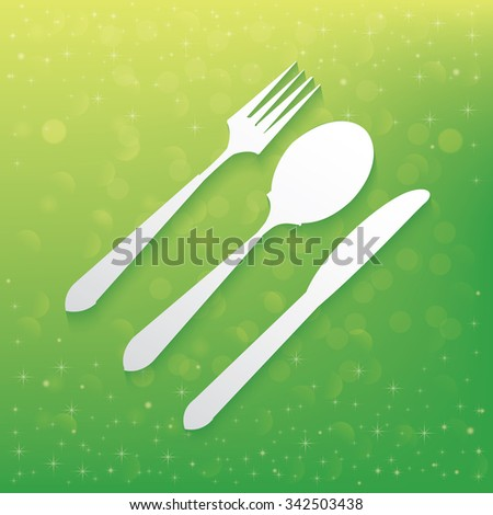 Spoon design on green background,vector