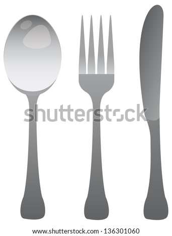 spoon fork and knife - stock vector