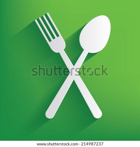 Spoon symbol on green background,clean vector