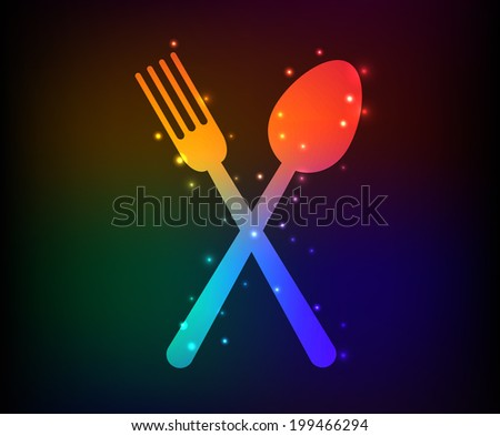 Spoon symbol,Rainbow vector - stock vector