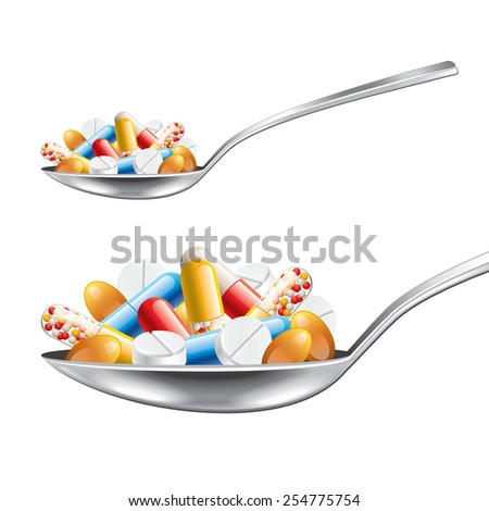 Spoon with medicines isolated on white photo-realistic vector illustration - stock vector