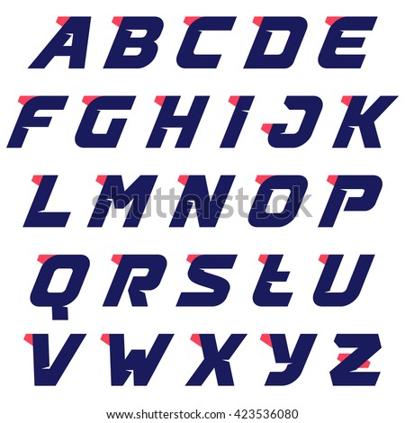 Sport alphabet run logos design template. Vector sport style typeface for sportswear, sports club, app icon, corporate identity, labels or posters. - stock vector