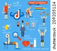 Sport and fitness infographics showing athletes working out in a gym with weights and dumbbells with charts and graphs and cardiovascular activity  a central portion shows an unhealthy diet - stock vector