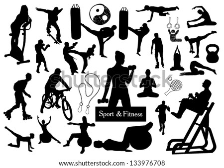 Sport and fitness silhouettes - stock vector