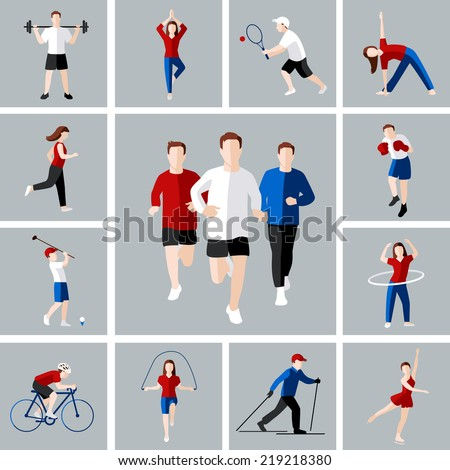 Sport and leisure people activities icons set isolated vector illustration - stock vector