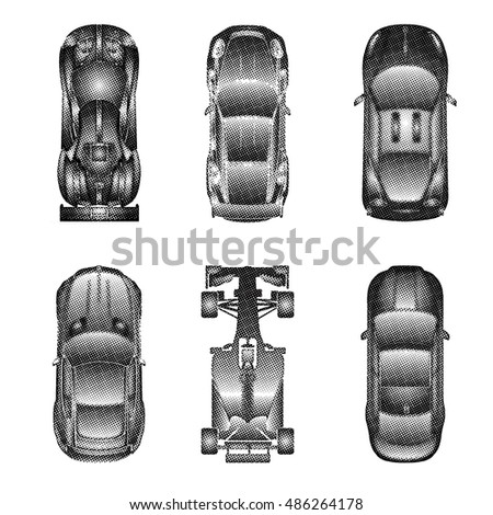 Sport Racing Cars Top View Icons Stock Vector Shutterstock