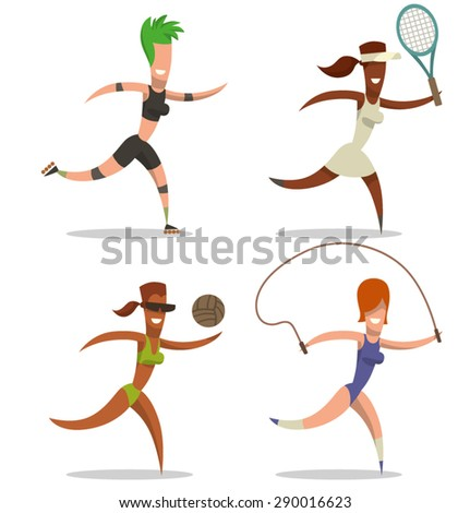 sport and women set, vector