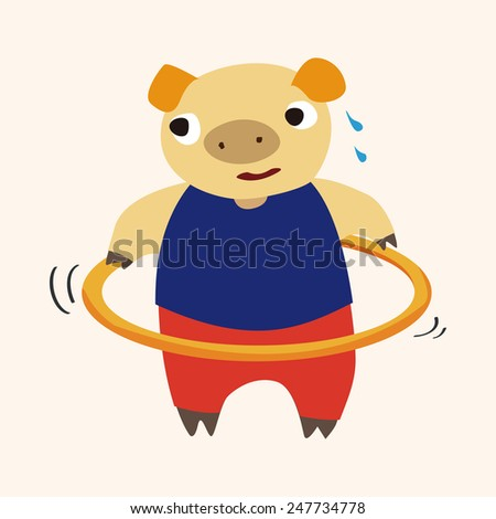 sport animal pig cartoon  - stock vector