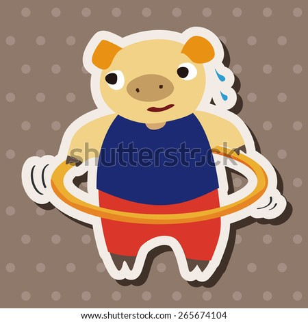 sport animal pig cartoon elements vector - stock vector