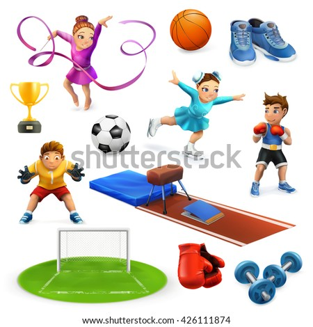 Sport, athletes and equipment vector icons set - stock vector