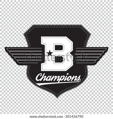Sport athletic champions college varsity baseball football logo emblem. - stock vector