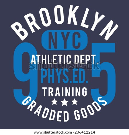 Sport athletic NYC  typography, t-shirt graphics, vectors