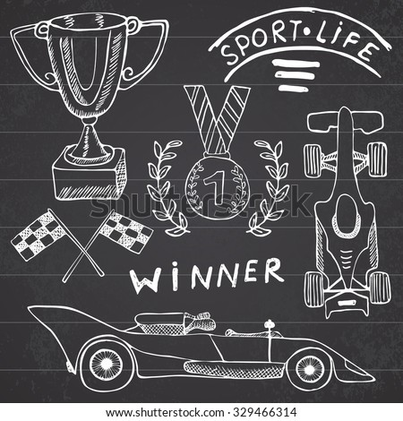 Sport auto items doodles elements. Hand drawn set with Flag icon. Checkered or racing flags first place prize cup. medal, racing car, race vector illustration. Drawing doodle collection on chalkboard. - stock vector