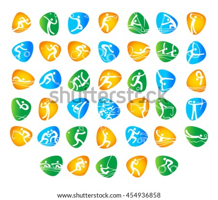 Sport badges. Rio 2016 abstract colorful pattern. Summer color of Olympic games 2016 - Green, orange, yellow, blue. Summer Sport Brazil background. For Art, Print, web design advertising.