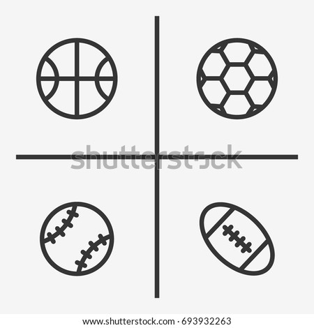Sport ball icons  set illustration isolated vector sign symbol