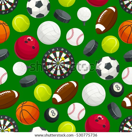 Sport Ball Pattern Vector Seamless Background Of Balls For Soccer Football Volleyball And Rugby