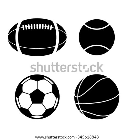 sport balls collection - vector icon
