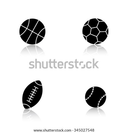 Sport balls drop shadow icons set. Basketball, soccer, baseball, american football and rugby balls. Active, team play games equipment. Cast shadow logo concepts. Vector black silhouette illustrations