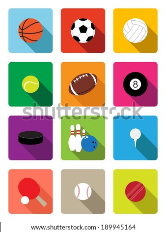 Sport balls flat icons - stock vector
