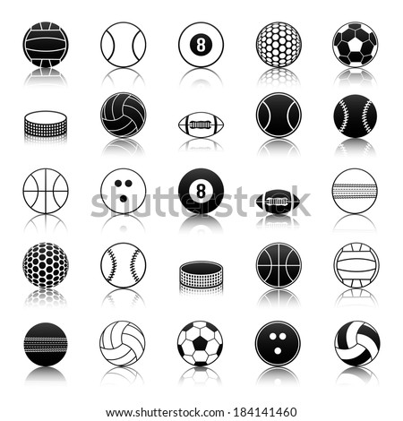 Sport balls icons pack - stock vector