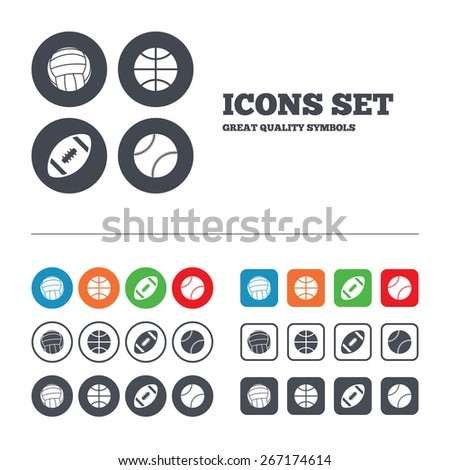 Sport balls icons. Volleyball, Basketball, Baseball and American football signs. Team sport games. Web buttons set. Circles and squares templates. Vector - stock vector