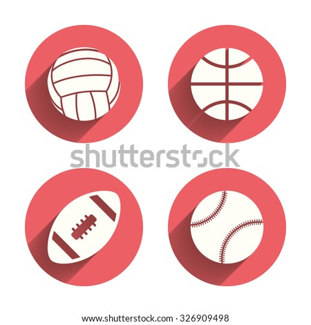Sport balls icons. Volleyball, Basketball, Baseball and American football signs. Team sport games. Pink circles flat buttons with shadow. Vector