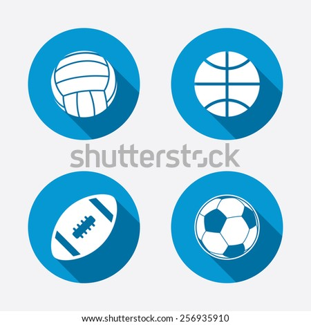 Sport balls icons. Volleyball, Basketball, Soccer and American football signs. Team sport games. Circle concept web buttons. Vector