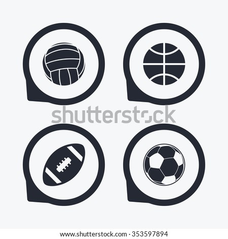 Sport balls icons. Volleyball, Basketball, Soccer and American football signs. Team sport games. Flat icon pointers.