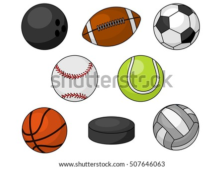 Sport balls. Isolated vector icons of sport balls and team gaming items of bowling, soccer, rugby, football, baseball, basketball, tennis, hockey puck, volleyball
