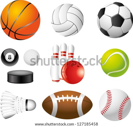 sport balls photo-realistic vector set - stock vector