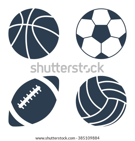 Sport balls set on black background. Collection silhouettessports balls. Vector illustration. - stock vector