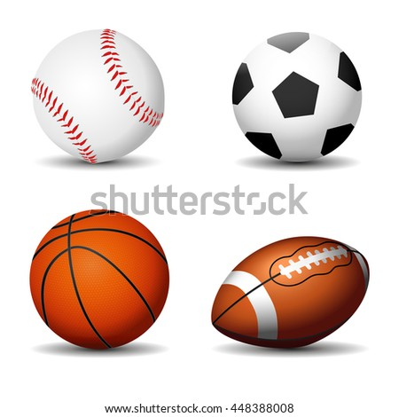 Sport balls silhouettes isolated. Football, basketball, rugby, baseball. Vector illustration