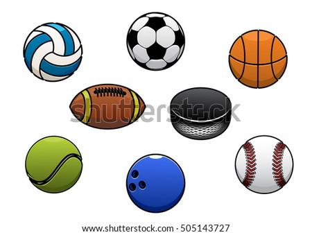 Sport balls vector isolated icons set. Gaming sport ball and equipment elements for soccer, rugby, football, baseball, basketball, tennis, hockey puck, bowling, volleyball