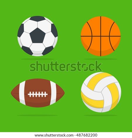 Sport balls vector set of isolated from the background. Icons football, basketball, volleyball and american football balls in the style flat. Symbols sports equipment. Cartoon sport balls.