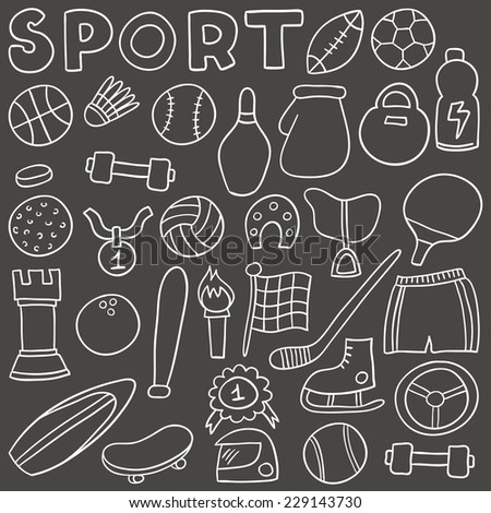 Sport bicolor icon set. Hand drawn vector illustration. - stock vector