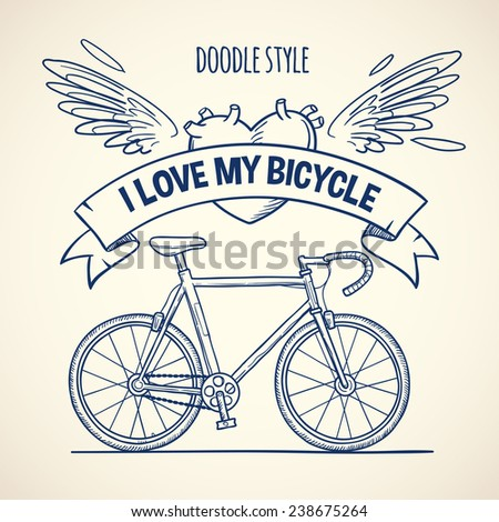 sport bicycle, doodle style vector illustration - stock vector
