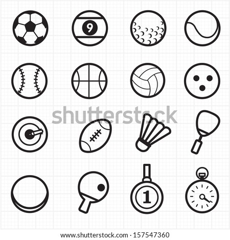 Sport black icons - stock vector