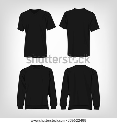 Sport black t-shirt and sweater isolated set vector - stock vector
