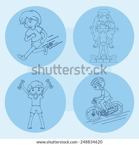 Sport boy contour vector drawing. Healthy lifestyle background. - stock vector