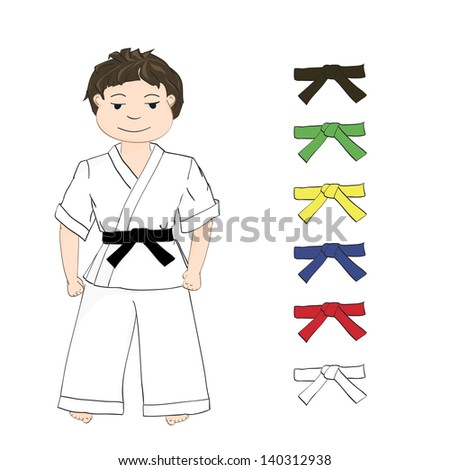 Sport boy karate and colored belts, vector.