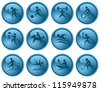 Sport button set - stock vector