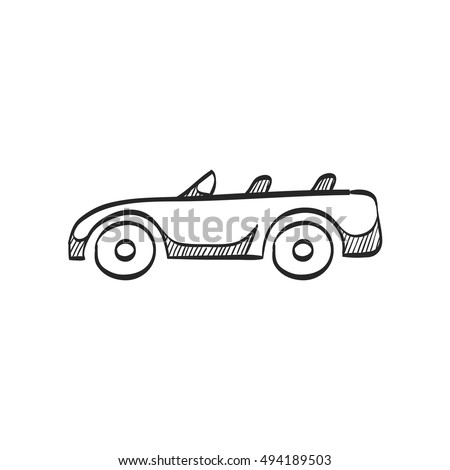 Sport car icon in doodle sketch lines. Luxury speed coupe automotive convertible