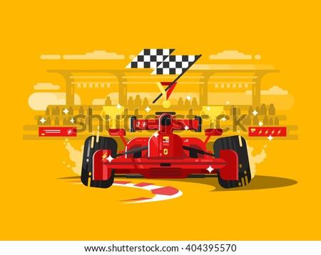 Sport car in race - stock vector