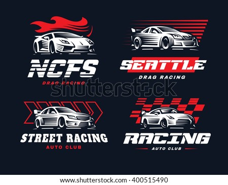 Sport car logo illustration on dark background. Drag racing.  - stock vector
